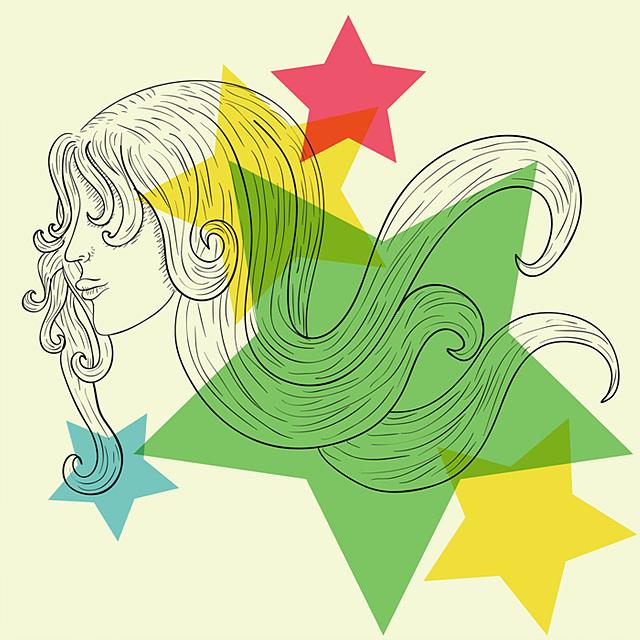 중앙에 커다란 초록별을 중심으로 곳곳에 별이 보인다. 뒤에는 한 여인의 옆얼굴이 보인다.