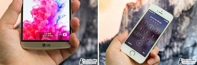 LG G3 기기 하단과(왼쪽) 아이폰에서(오른쪽) 보이는 긴급통화 버튼