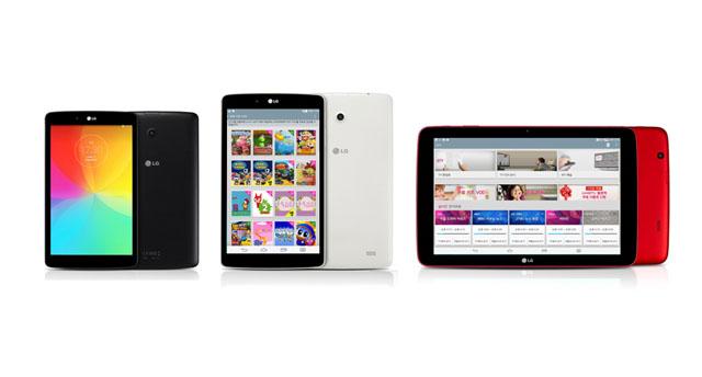 'QTV' 앱을 실행시 서비스되는 다양한 콘텐츠 목록을 보여주는 'LG G패드' 제품 이미지.