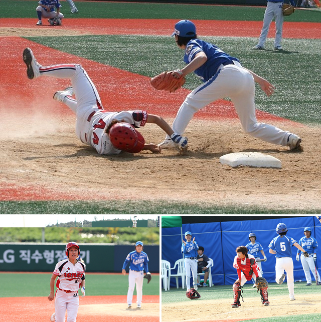 안성 아이원스 선수가 세이프를 위해 몸을 날리고 있다(상단) 안성 아이원스 선수가 달리고 있다(왼쪽 아래) 고양 레이커스 선수들 사이에서 안성 아이원스 선수가 상체를 구부린 채 왼쪽을 보고 있다.(오른쪽 아래)