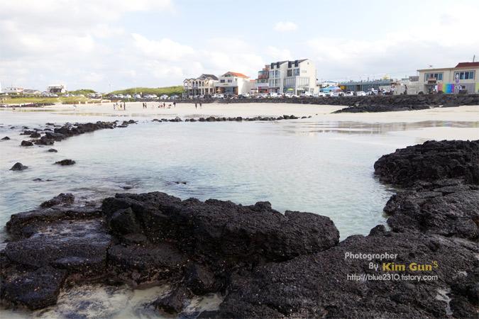 제주도 월정리 바닷가. 얕은 바닷물과 제주도 특유의 검은색 바위가 보인다.