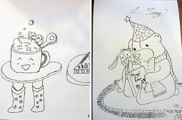 아이들이 직접 그린 그림. 사람 다리가 달린 탁자와(왼쪽) 곰인형과 토끼인형이 책을 읽는 그림(오른쪽)
