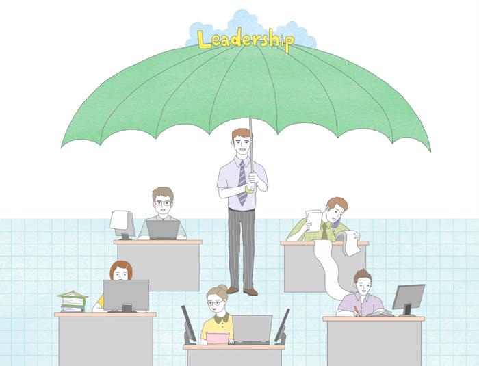 남성이 책상에 앉아 일하고 있는 직원들을 커다란 우산으로 씌워주고 있는 일러스트.