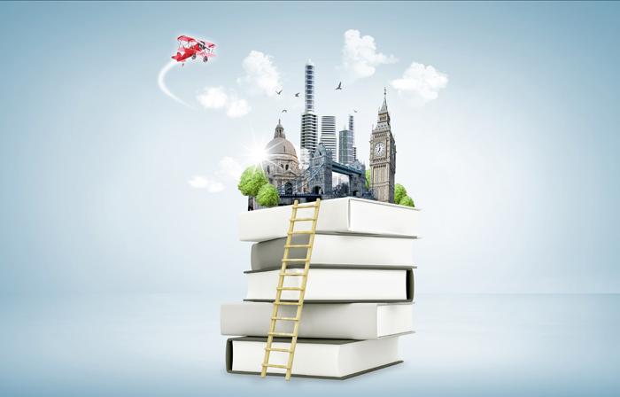 마음의 멘토 책. 여려 권 쌓인 책 위로 도시의 모습이 보이는 일러스트