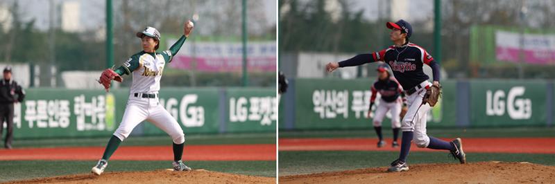 '나인빅스'의 조명희 선수(왼쪽)와 '비밀리에' 나두리 선수(오른쪽)가 공을 던지고 있다.