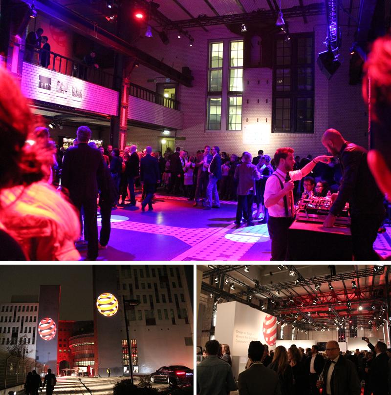 레드닷 어워드의 '디자이너를 위한 밤' 현장에 세계 각국의 디자이너들이 어울리고 있다. (상단) 레드닷 어워드 시상식으로 가는 길, 레드닷의 상징인 빨간 동그란 표시가 건물의 기둥에 있다. (왼쪽아래) 많은 사람들이 시상식을 바라 보고 있다. (오른쪽아래)