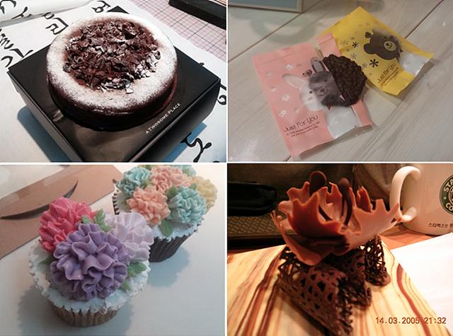 위용석 대리가 직접 만든 초콜릿, 케이크, 쿠키, 머핀이 보인다.