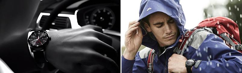 한 남성이 운전 중 스마트워치를 통해 시간을 확인하고 있다.(좌) 비가 내리자 한 남성이 모자를 쓰며 스마트워치로 시계를 보고 있다.(우)