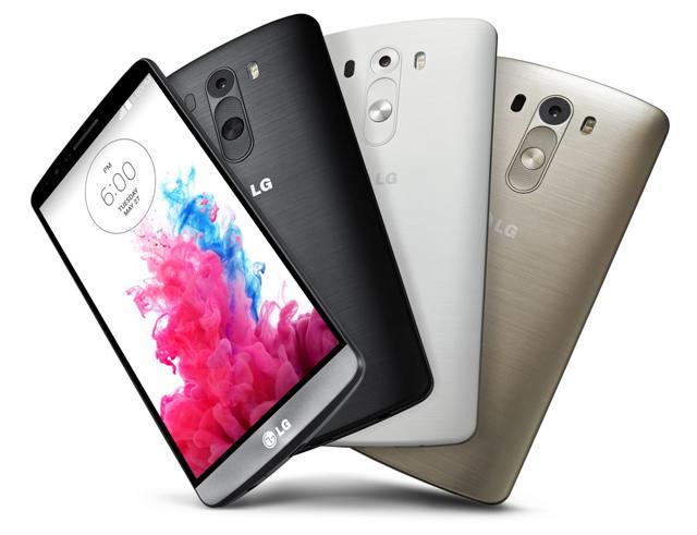 LG G3 메탈릭 블랙과 실크 화이트, 샤인 골드가 차례로 보인다.