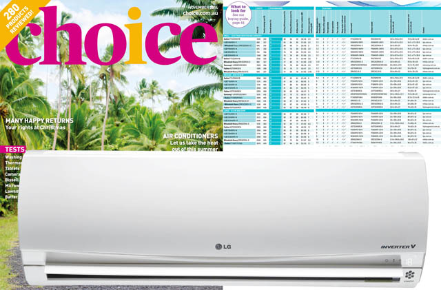호주 초이스지 11월호에서 대형부문 종합 점수 1등으로 선정된 LG전자 냉난방에어컨 이미지 입니다.