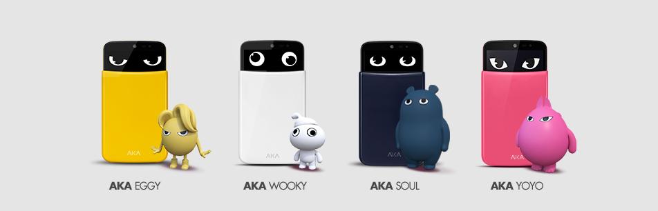 아카(AKA)의 4가지 색상별 이미지가 보인다. 왼쪽부터  '에기(Eggy, 옐로)', '우키(Wooky, 화이트)', '소울(Soul, 네이비)', '요요(YoYo, 핑크)'