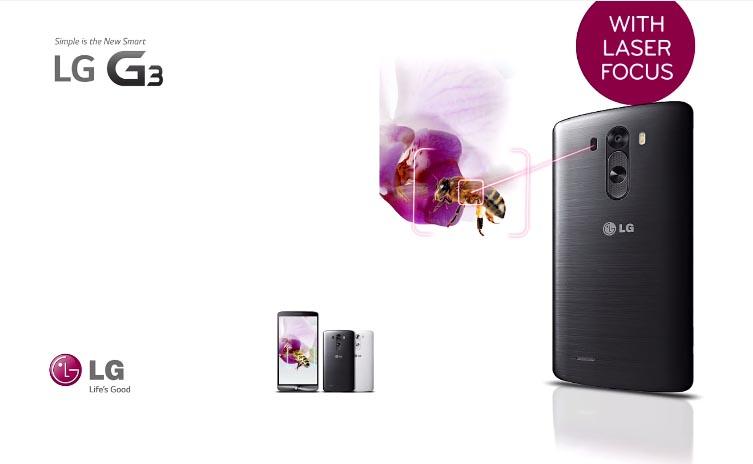 벌을 향해 LG G3에서 레이저가 나오고 있다. 오른쪽에 LG G3의 LASER FOCUS 문구가 보인다.
