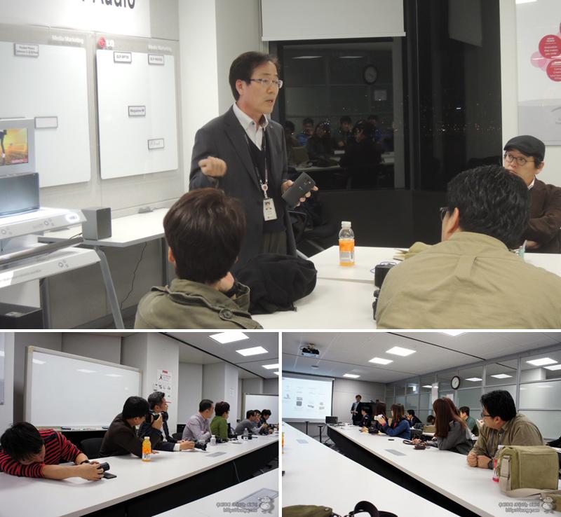 CAV사업담당이신 민병훈 전무가 LG 스마트오디오에 대해 발표하고 있다.(상단) 참석자들이 발표회에서 사진을 촬영하거나 설명을 듣고 있다.(왼쪽아래) 참석자들이 발표에 집중하고 있다.(오른쪽)