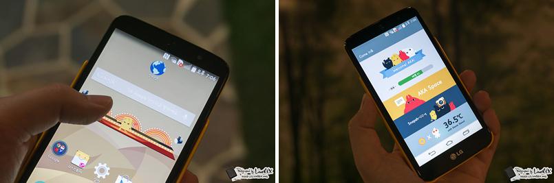 LG 아카(AKA) 스마트폰의 홈 화면 상단에 애니메이션이 보인다.