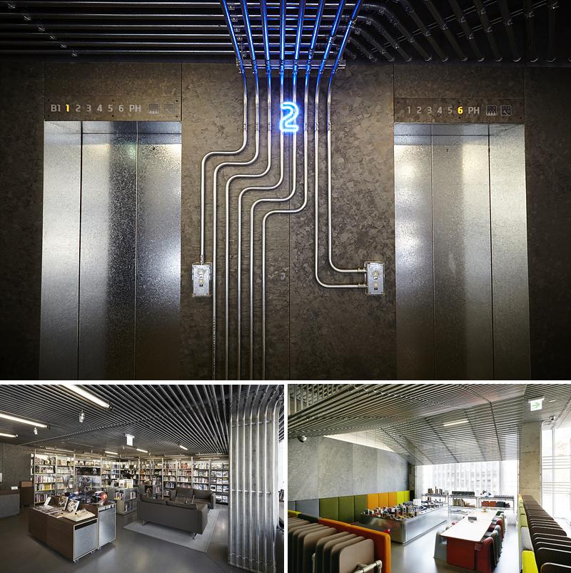 현대 모터스튜디오의 내부 전경. 독특한 디자인의 엘레베이터(위), 라이브러리(왼쪽 아래), 카페의 모습(오른쪽 아래)
