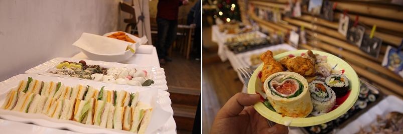 테이블 위로 다양한 핑거푸드가 마련되어 있다.(좌), 음식을 접시에 담은 모습(우)