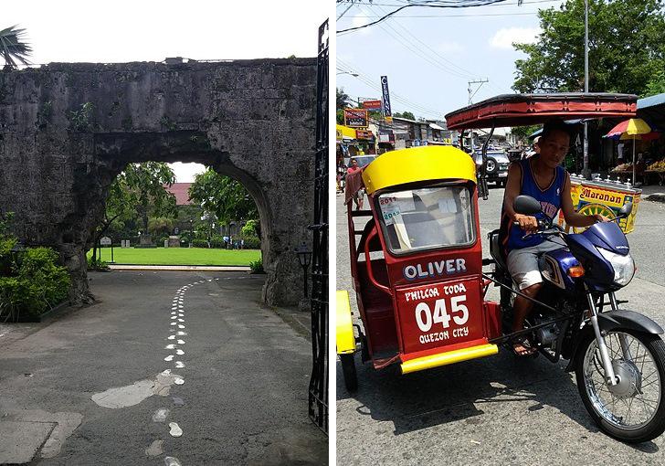 필리핀 유적지와(왼쪽) 관광지에서 흔히 볼 수 있는 오토바이 삼륜자동차(오른쪽)