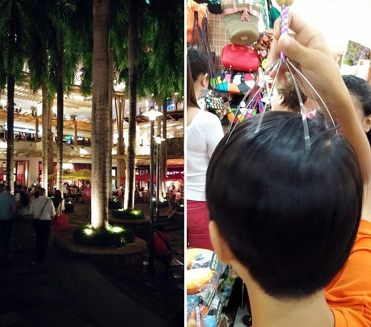 그린힐스 시장(왼쪽)과 구매한 물건을 사용해보는 아이 모습(오른쪽)