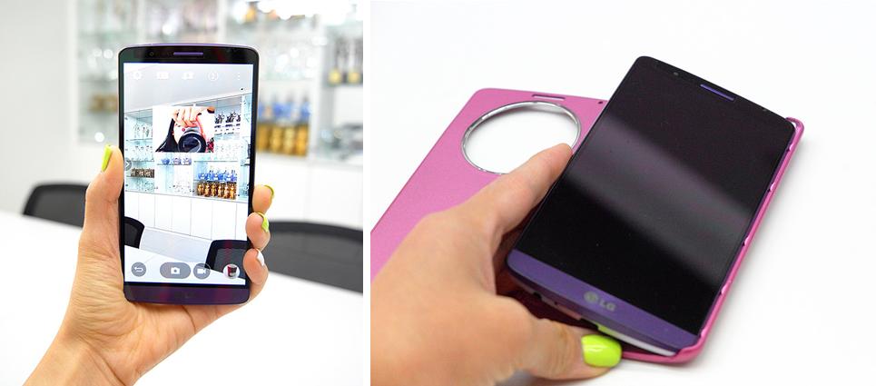 LG G3 카메라 어플을 실행시킨 모습(좌), LG G3를 퀵서클 케이스에 끼우는 모습(우)