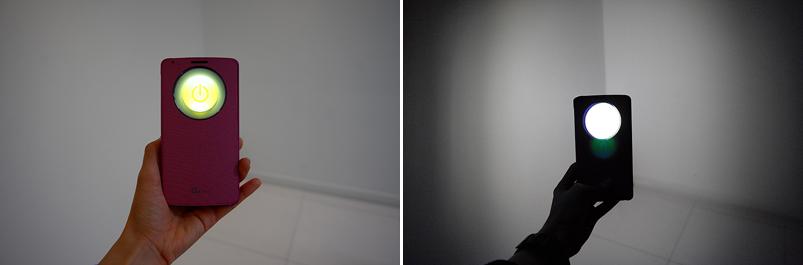 LG G3 퀵서클 손전등 기능을 실행한 모습