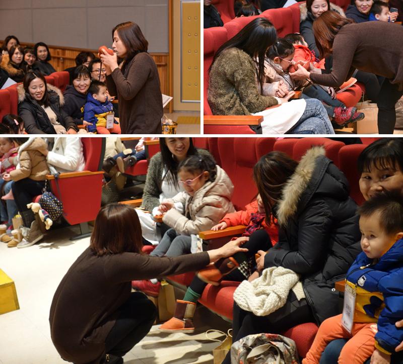 왼쪽 위에서부터 강아지똥을 구연동화로 재연하는 모습. 아이들이 직접 인형을 만지고 있다.