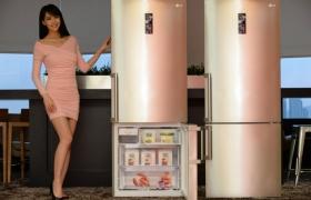 모델이 유러피안 스타일의 LG전자 상냉장/하냉동 452리터 냉장고 신제품(모델명: R-M441GCV)을 소개하고 있습니다.