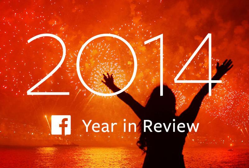 폭죽이 터지는 밤하늘을 배경으로 한 여성이 두 팔을 머리 위로 벌리고 서 있다. '2014 facebook Year in Review' 글귀가 써있다.