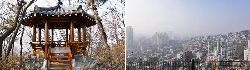 동망봉의 팔각정(좌), 한 눈에 내려다 보이는 서울 시내(우)