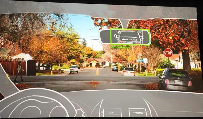 전방도로를 모니터링하고 있는 자율주행차 모듈