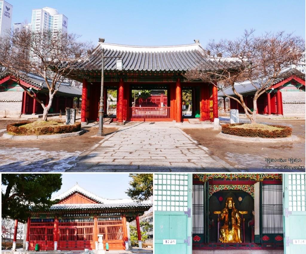 동묘공원의 입구(위), 관우를 모신 정전 건물(왼쪽 아래) 금빛으로 빛나고 있는 관우상(오른쪽 아래)