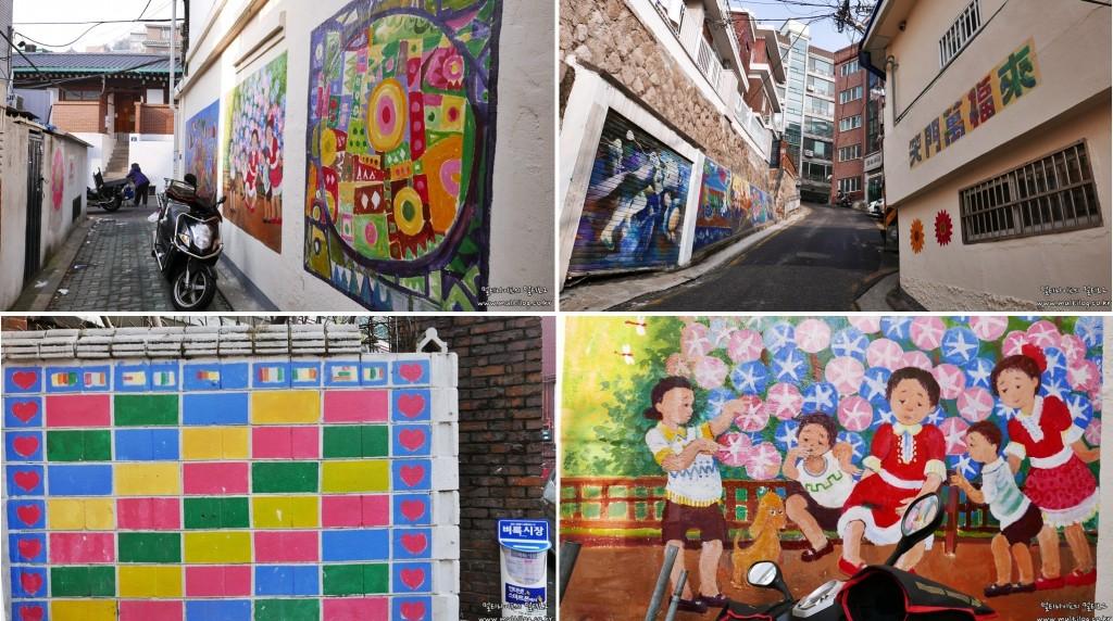 왼쪽 상단부터 차례로 숭인동 벽화골목의 다양한 벽화들