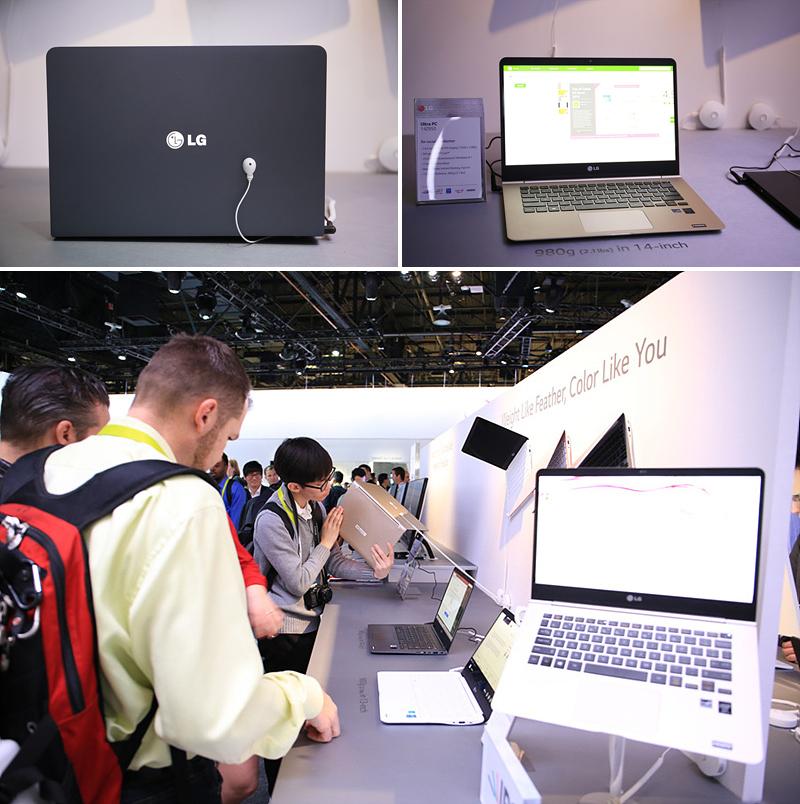2015년형 울트라 PC 그램의 모습 (왼쪽 위), LG 그램을 직접 체험해 볼 수 있도록 전원이 켜져 있다.(오른쪽 위), LG 그램을 살펴보고 있는 관람객들(아래)