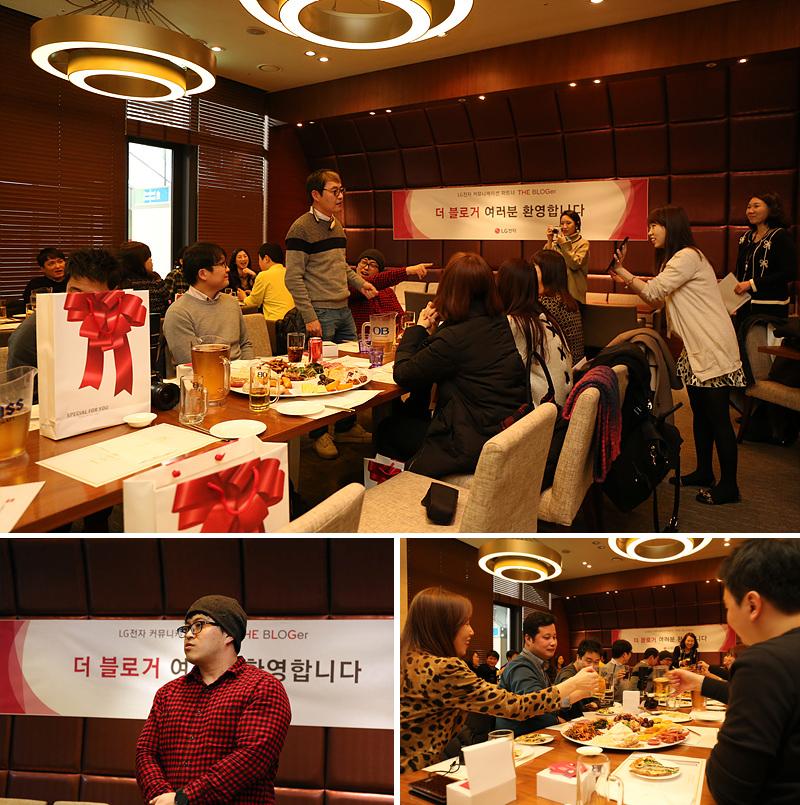더 블로거 9기 발대식 현장. 테이블에 앉아 식사를 하는 모습(위), 자기소개를 하는 모습(왼쪽 아래), 테이블에 앉아 건배를 하는 모습(오른쪽 아래)