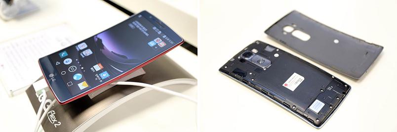 LG G 플렉스2의 전면(왼쪽), LG G 플렉스2의 배터리 덮개를 뺀 후면(오른쪽)