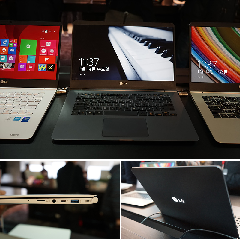2015년형 LG 그램 14의 모습(위), LG 그램 14의 측면 슬롯을 확대한 사진(왼쪽 아래), LG 그램 14를 부팅시키자 커버의 LG 마크가 빛나고 있다.(오른쪽 아래)