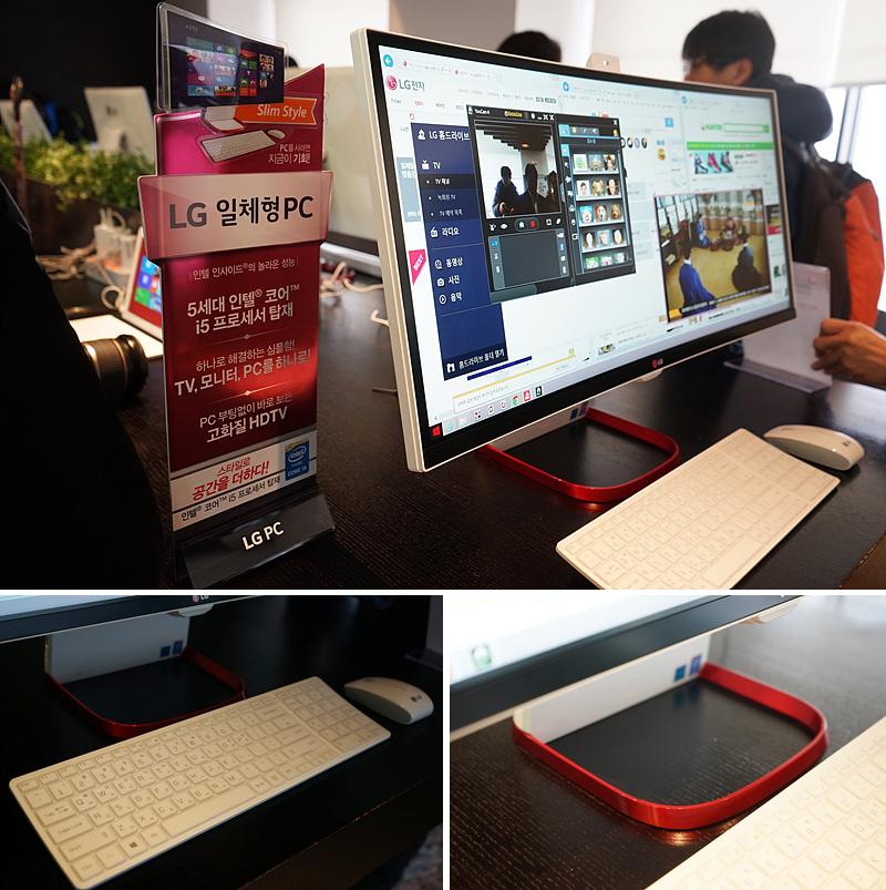 LG 일체형 PC가 전시된 모습(위), LG 일체형 PC 앞에 놓인 키보드와 마우스(왼쪽 아래), LG 일체형 PC의 거치대는 강렬한 레드 색상으로 포인트를 줬다.(오른쪽 아래)