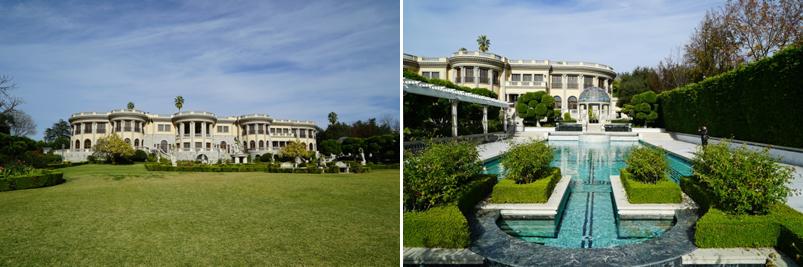 촬영장으로 사용된 미국 로스앤젤레스 파서디나(Pasadena) 대저택의 잔디(좌)와 수영장(우)