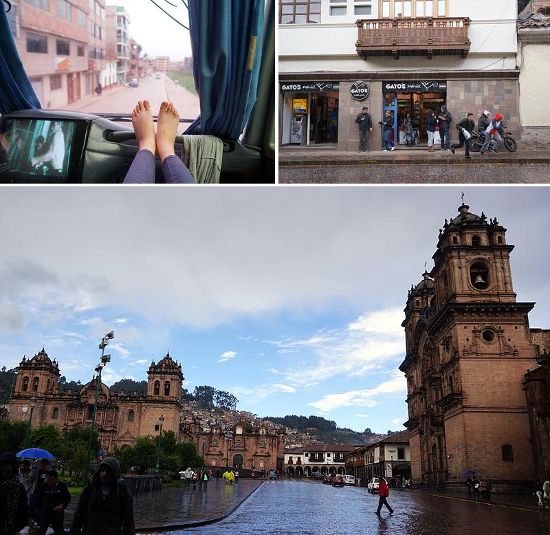 버스에서 보이는 쿠스코 시내(좌상단), 가게에서 사람들이 나오는 모습(우상단), 쿠스코 시내의 모습(하단)
