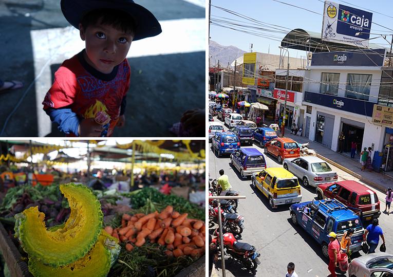 눈이 큰 페루 남자아이(좌상단), 시장에 진열된 과일(좌하단), 도로를 가득 메운 티코 행렬(우)