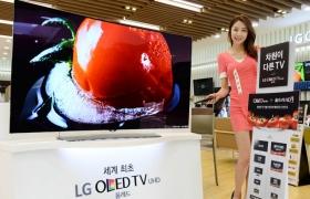 모델이 LG전자 매장에서 '굿 체인지 굿 챈스' 페스티벌을 맞아 65형 '곡면 올레드 TV(65EG9600)' 를 소개하고 있습니다.