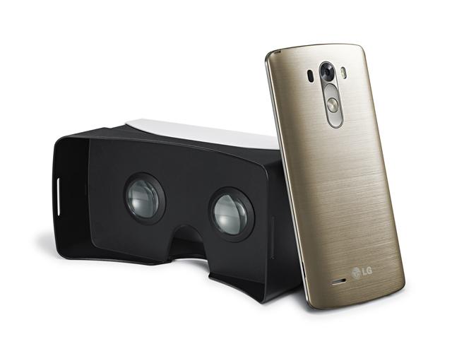 LG전자가 제공하는 VR기기 'VR for G3'의 후면과 'G3' 스마트폰 후면 이미지 입니다.