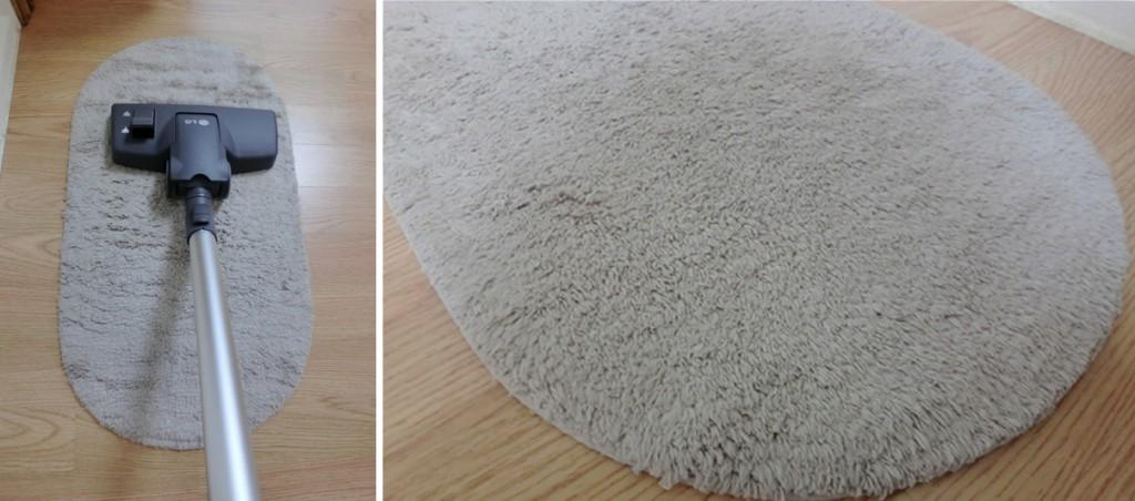 카페트 먼지를 쉽게 빨아들이는 LG 코드제로 청소기(왼쪽), 깨끗해진 카페트의 모습(오른쪽)