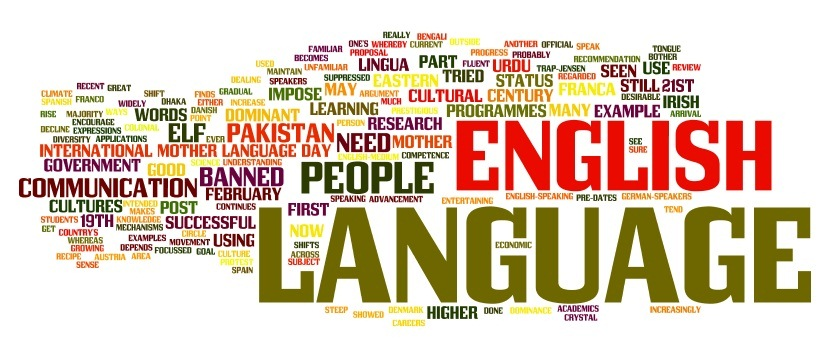 어학의 중요성을 보여주는 이미지. ENGLISH, LANGUAGE 등 여러 단어가 표기되어 있다.