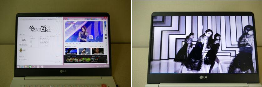 그램14로 블로그를 둘러보고 있다. (왼쪽), 레인보우 뮤직비디오를 감상하고 있다.(오른쪽)