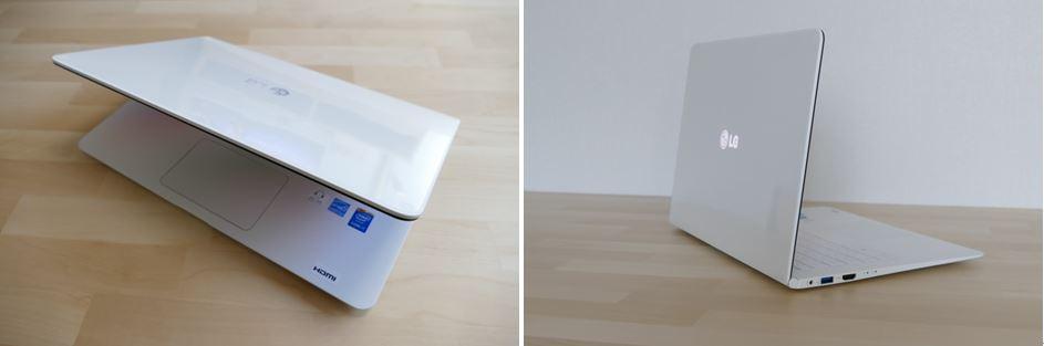 그램14 노트북을 촬영한 모습. (왼쪽), LG 로고가 빛나고 있는 그램14 노트북(오른쪽)