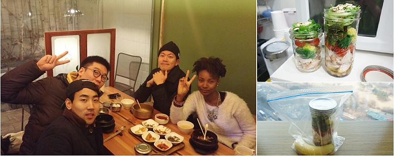 (왼쪽) airbnb 게스트와 함께 식사하는 모습 (오른쪽) 게스트로부터 배운 Salad Jar