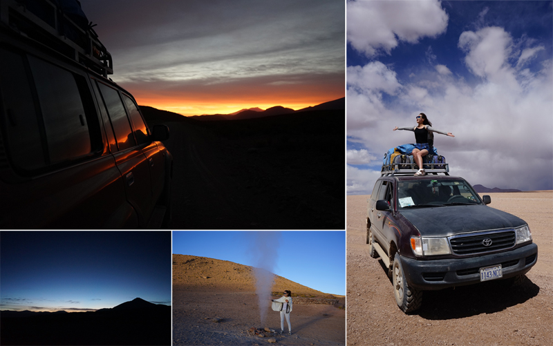 낮과 밤 모두 화려한 색을 자랑하는 우유니 사막. 석양이 지는 하늘의 모습(왼쪽 위), 어두워져가는 소금사막의 모습(왼쪽 아래), 연기가 솟아나오는 소금사막의 모습(오른쪽 아래), 사막을 달리는 자동차 위에 앉아있는 모습 (오른쪽)