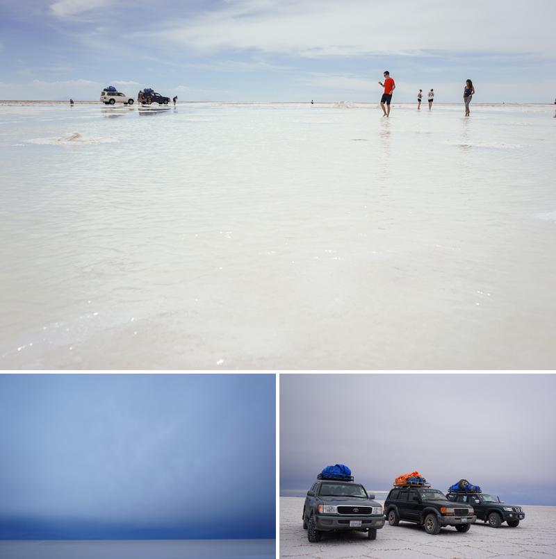 하늘과 땅이 맞닿아 있는 것과 같은 착각을 불러일으키는 신비로운 뷰를 가진 우유니 소금사막(위), 하늘과 땅이 맞닿아있는 소금사막(왼쪽 아래), 소금사막을 달리는 SUV 자동차(오른쪽 아래)