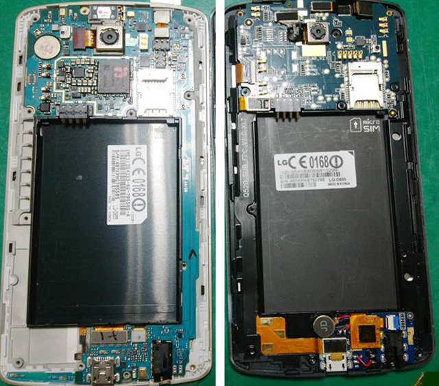 왼쪽이 모 판매자가 제조한 G3 배터리 복제품, 오른쪽이 LG전자의 G3 배터리 정품. 오른쪽 배터리처럼 흰색 점(침수라벨)이 있어야 정품입니다.