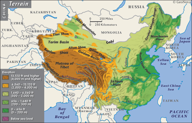 중국의 서고동저 지형
